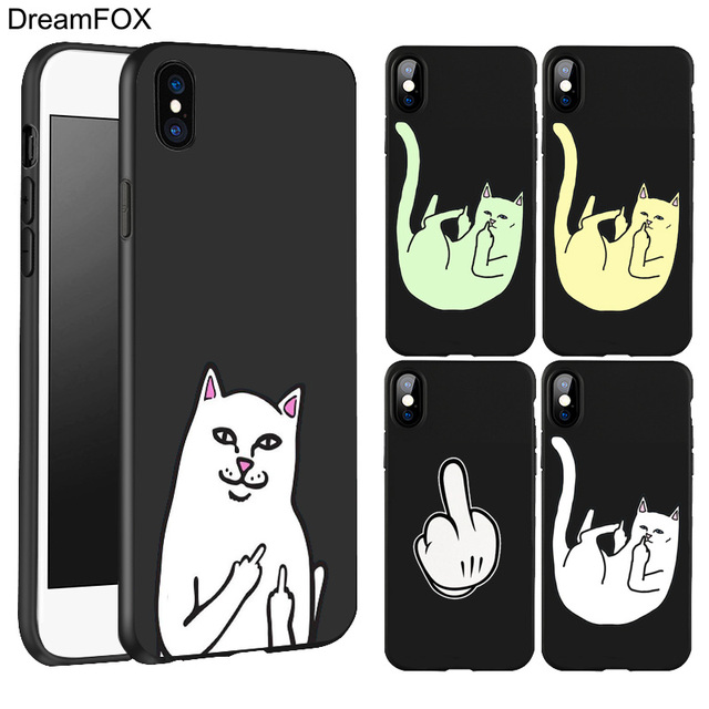 new concept 65990 2af5e US $0.72 44% OFF|DREAMFOX L303 Pocket Middle Finger Cat Black Soft TPU  Silicone Case Cover For Apple iPhone XR XS Max X 8 7 6 6S Plus 5 5S 5G  SE-in ...