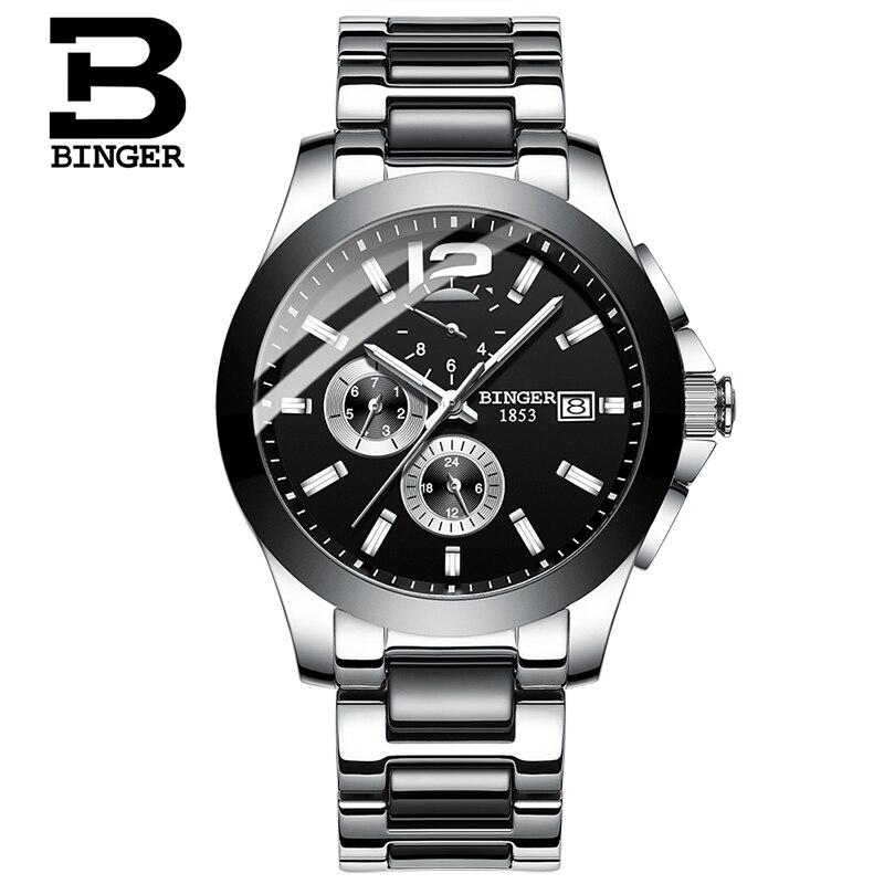 Classic Business Lovers Automatic Watches Self-winding Men Ceramic Wristwatch Workable 3 Eye 6 Hands Analog Watch Calendar Women