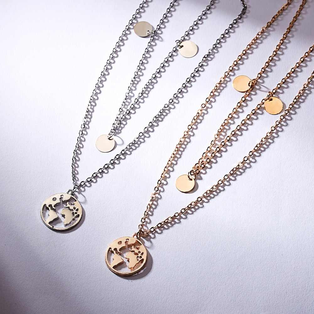Rinhoo זהב/רוז זהב/שחור/כסף צבע נירוסטה/אבץ סגסוגת מפה/ציפור/חתול/ לב צורת תליון שרשרת לנשים של איש של מתנה