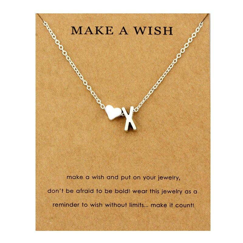 Сердце начальные Подвески ожерелье s персонализированное ожерелье с буквами Имя ювелирные изделия для женщин мужчин аксессуары подруги любовника пара подарок - Окраска металла: NE1678