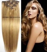 16″-32″  Brazilian Virgin Remy Hair Clips In Human Hair Extensions Full head 7pcs Set 70g 80g 100g 120g 140g #18