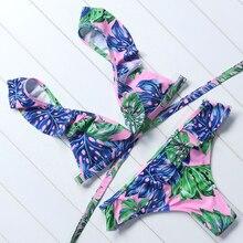 Ruffles Low Waist Push Up Brazilian Solid Padded bikini