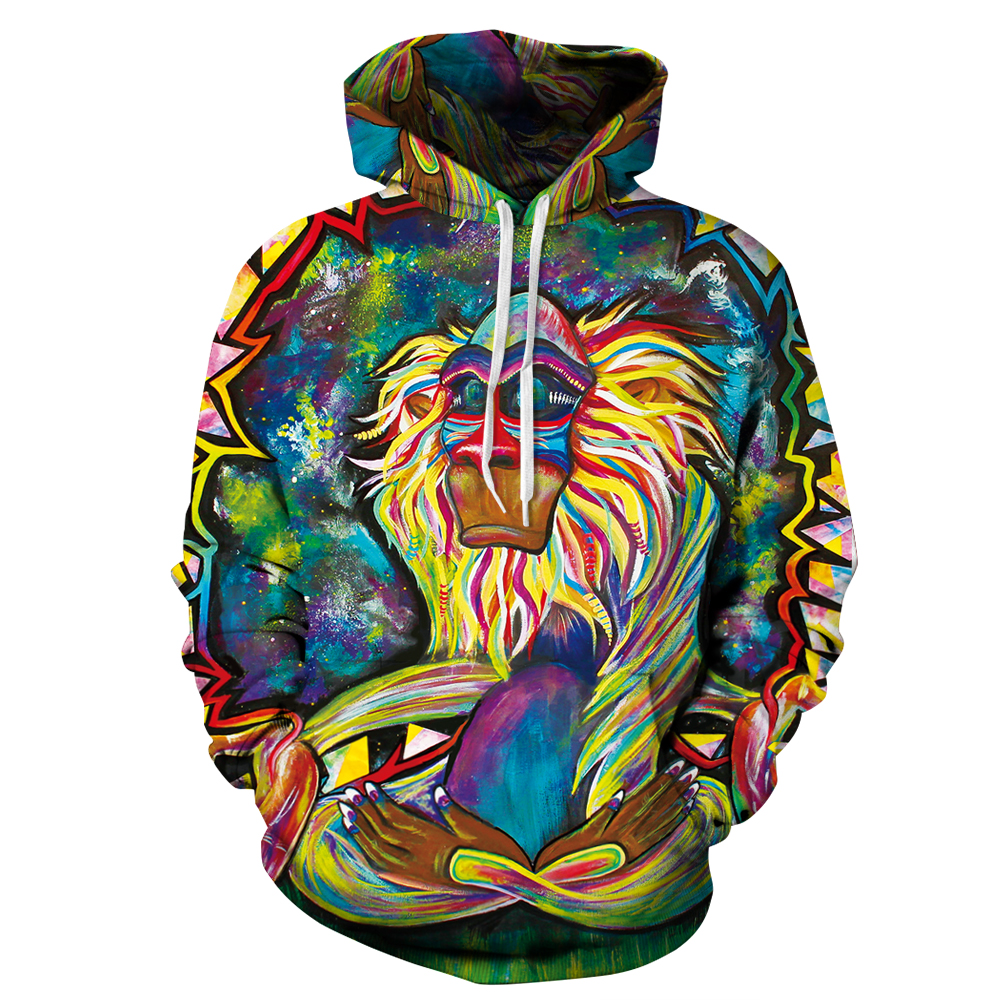 Miduo New Fashion Autumn Winter Men/women Thin Sweatshirts With Hat 3d Print Colorful Baboon Hooded Hoodies Tops Pullover