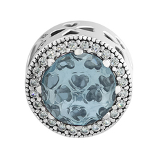 CKK Bead Radiant Clover Charm with Aqua Blue CZ Fits Pandora Bracelet Original Beads for Jewelry Making Women Gift kralen