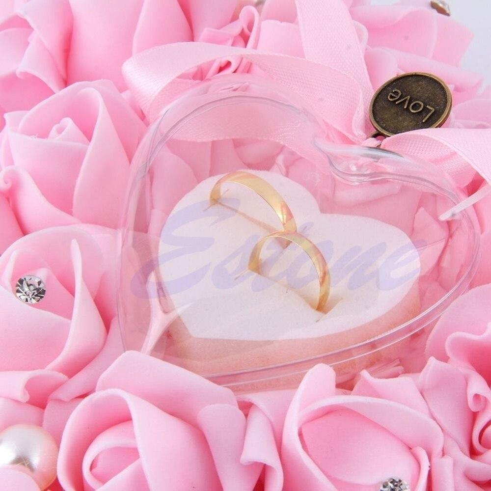 Elegant Rose Wedding Favors Heart Shaped Design Gift Ring Box Pillow ...