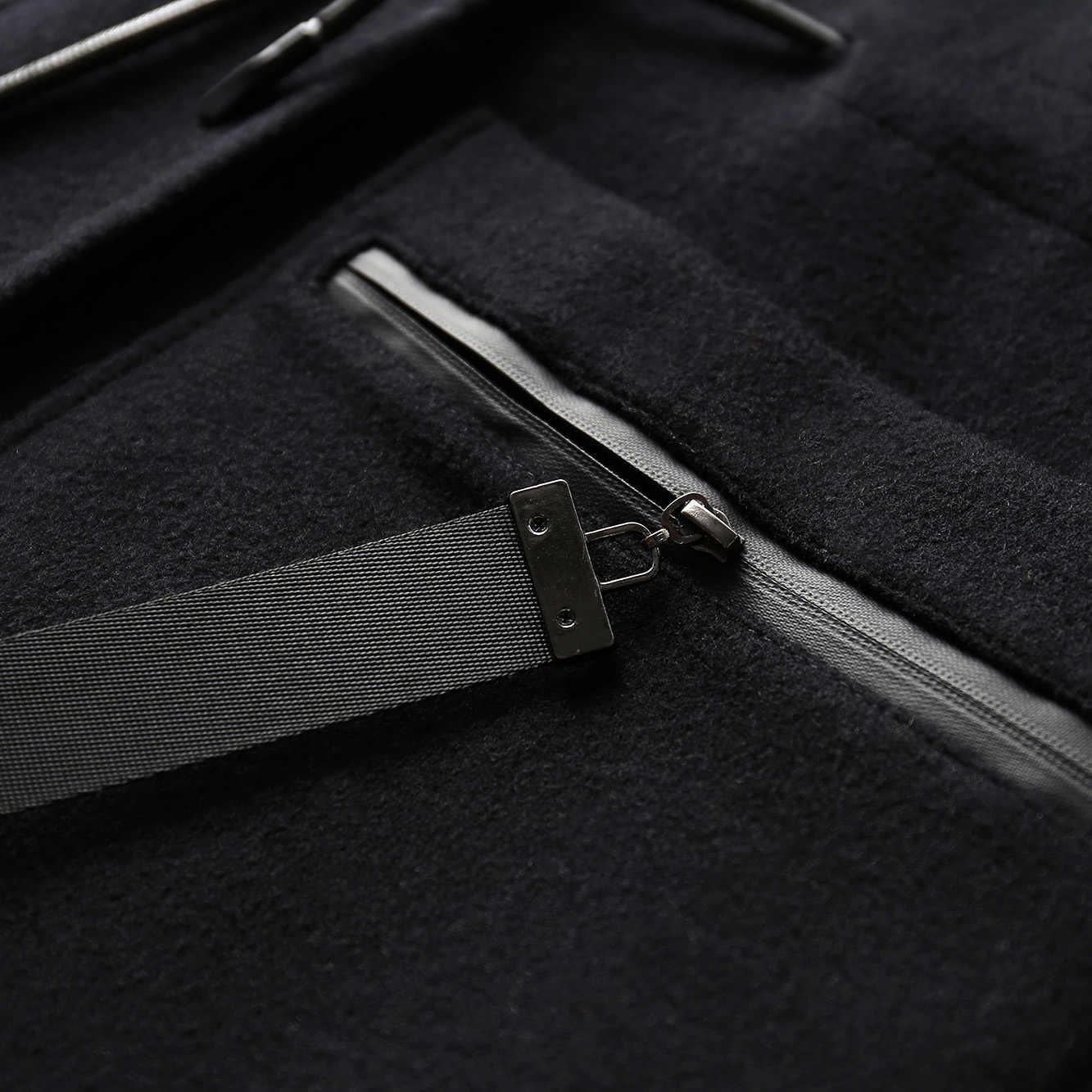 Amii מינימליסטי צד סדק צמר מעיל נשים חורף 2018 חדש מוצק רוכסן כיסי Loose סיבתי נשי ברדס ארוך מעיל