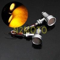 LED Retro 2pcs Motorcycle Turn Signal Light Mesh Grille Cover Amber Indicator Blinker for Harley Custom Chopper Racer