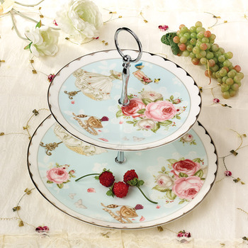 Youth Style Platinum Ceramic Bone China Afternoon Tea Pastry Plate Double Layer Fruit Cake Tray Floral Pattern Dish Shelf Gifts