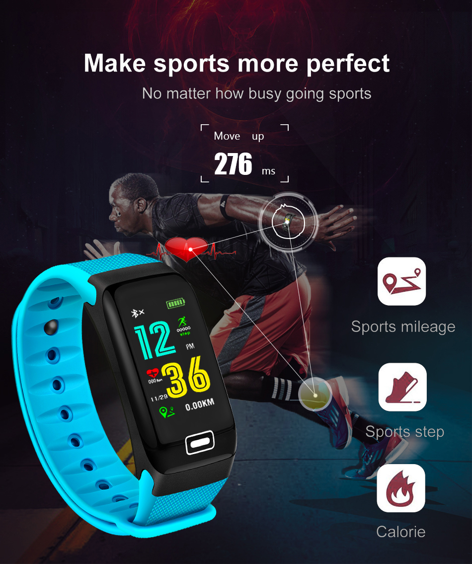WISHDOIT Smart Sport Watch New Waterproof Watch Blood Pressure Heart Rate Detection Pedometer for ios Android Fitness Watch +Box 3