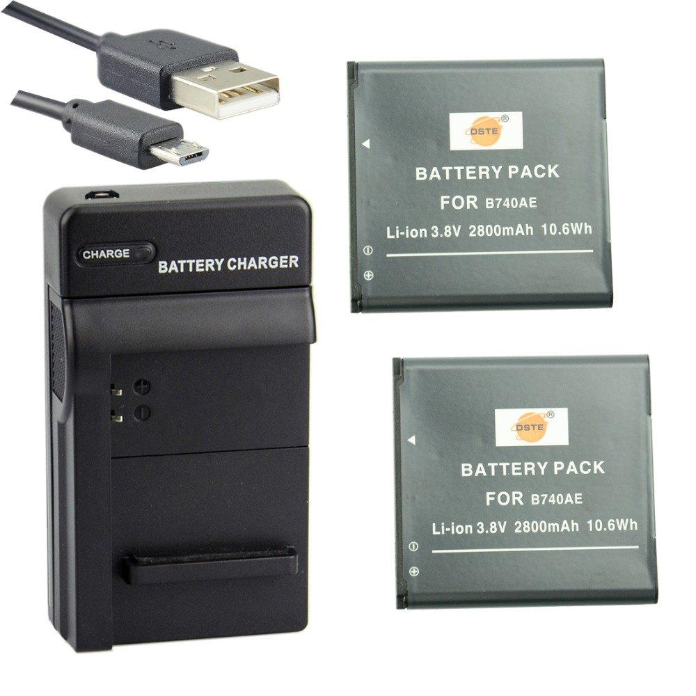 DSTE 2PCS B740AE Li-ion Battery with USB Port Charger for Samsung NX Mini0 S4 Zoom NX MINI NX3000 SM-C101 SM-C1010 CameraDSTE 2PCS B740AE Li-ion Battery with USB Port Charger for Samsung NX Mini0 S4 Zoom NX MINI NX3000 SM-C101 SM-C1010 Camera