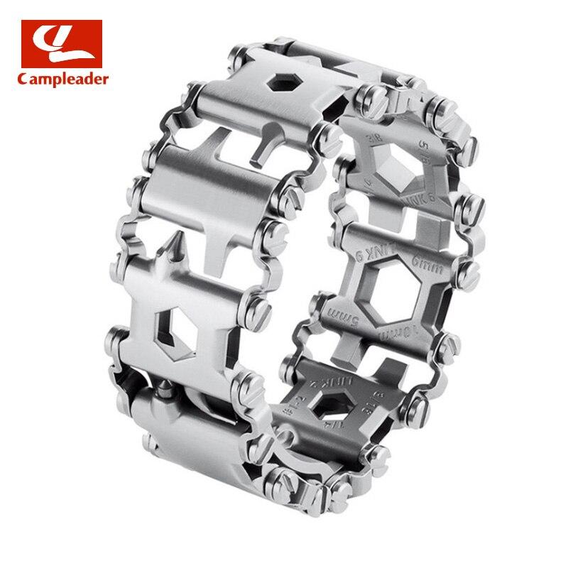 29 en 1 multi-fonction Bracelet Bracelet sangle outils de plein air tournevis poche extérieure Multi outil porte-clés décapsuleur CL019