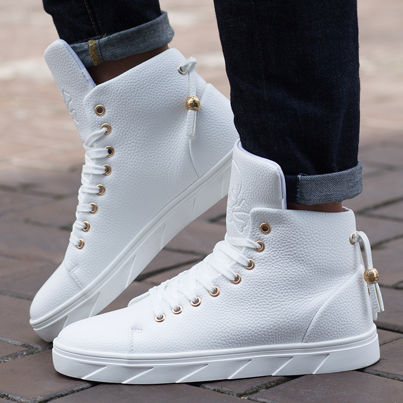 Men's White Skateboarding Shoes High Top Flats Sneakers Breathable Street Sports Shoes Hip Hop Walking Shoes Chaussure Homme