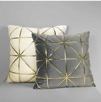 post modern light luxury grey/white velvet cushion cover grid golden embroidered throw pillow cover waist pillowcase indoor
