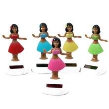 Цветов, случайный выбор! Новинка, на солнечных батареях, для танцующей девочки, Гавайские Луау, вечерние, качающиеся игрушки, фигурка, подарок, украшение, игрушки куклы
