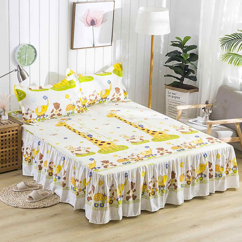 Новый водонепроницаемый мультфильм жирафовый принт кровать юбка с поверхностью наматрасник простыня домашний текстиль постельное белье (43 см высота)