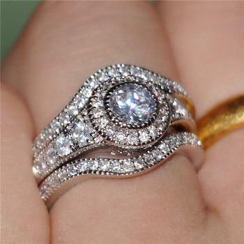 eceea488131b BOAKO 3 unids set lujo moda plata Color anillo AAA + CZ Cubic Zirconia  anillos de compromiso para las mujeres al por mayor Dropship x7-M2