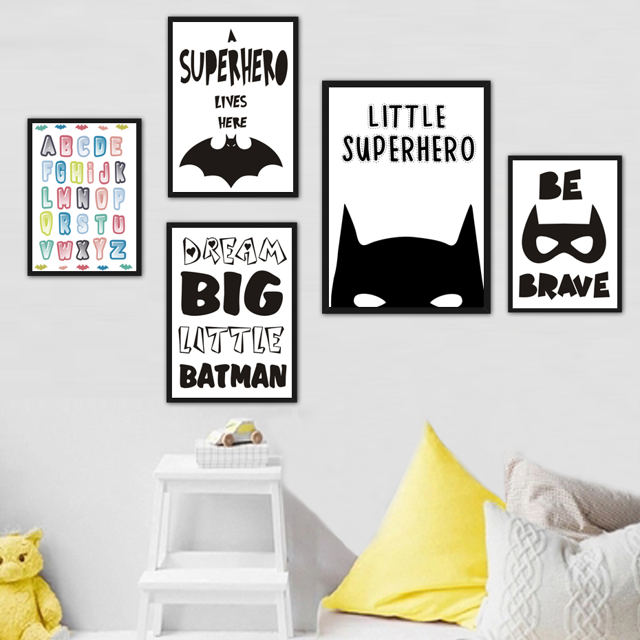 Superhero Batman Canvas Painting Inspiring Quotes Wall Art Pictures Nordic Pop Poster Print For Office Living Room Home Decor image