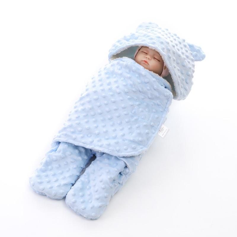 MOTOHOOD Coral Fleece Infant Swaddle Stroller Wrap For Newborn Baby Bedding Blankets Winter Thicken Velvet Baby Blanket Swaddle (5)