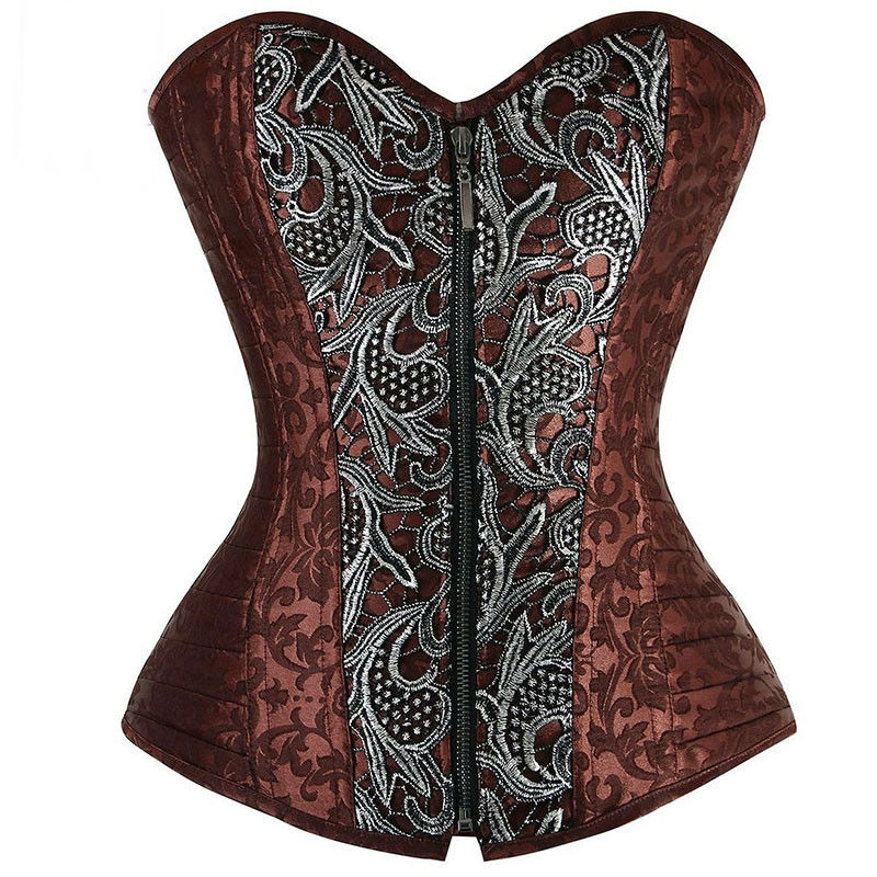Brown Vintage Brocade Steel Boned Overbust Corset Bustier Sexy Steampunk Costume Zipper Corsets And Bustiers Burlesque Outfit