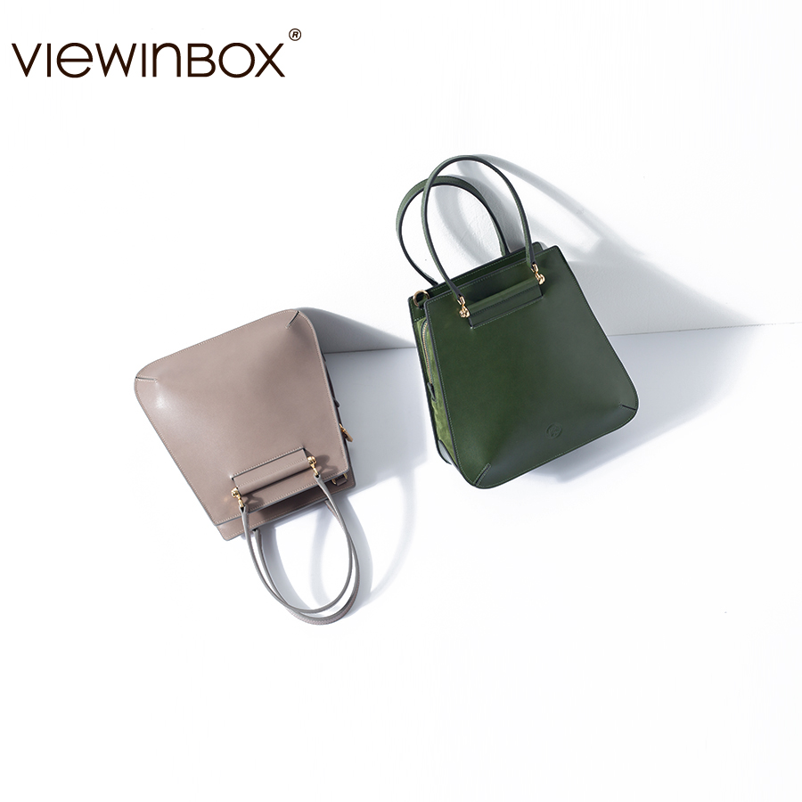 Viewinbox Woman Handbags Lady Leather Bags Trendy Womens' Pouch with Short Handle OL Style Women Bag Shoulder Bags clear wood handle bag with sequin pouch