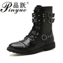 2018 Men Martin Boots Pu Leather Men Rivet Shoes Mid-Calf Boots Male Low Heels Men Boots Size 39-44