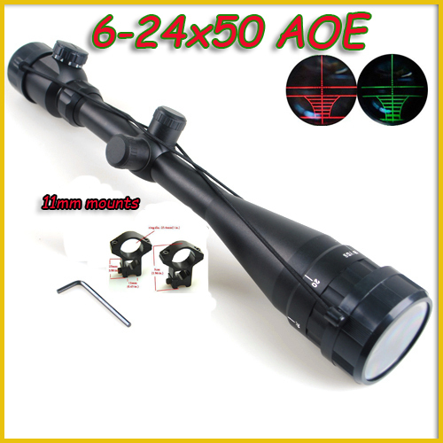11mm / 20mm 6-24X50 AOE Green Red Dot Tactical Riflescope Reticle Optical Rifle Scope for Shotgun rifle Hunting joufou 4 16x40aol tactical rifle scope optical sights full size mil dot rgb llluminate wire reticle hunting riflescope for rifle