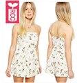 RCC flores Impressão de Alta qualidade Praia férias chiffon Siameses calções Novos 2016 Das Mulheres sexy cabresto Macacões