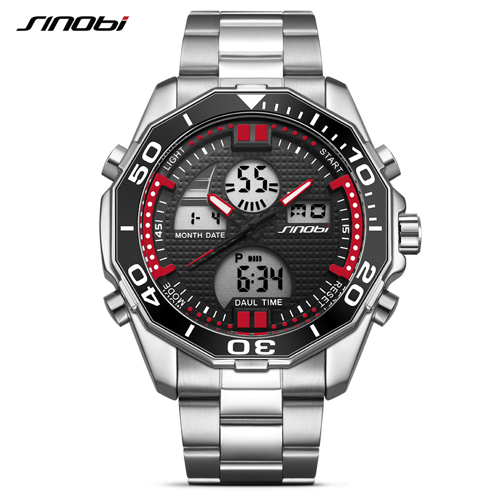 Mens Watches SINOBI 2018 Top Brand Luxury Fashion Sport Wrist Watch Dual Digital Movt Clock Military LED Relogio Masculino sinobi golden geek watches mens creative fashion wrist watches rotate plate dial with milan strap relogio man s japan movt watch