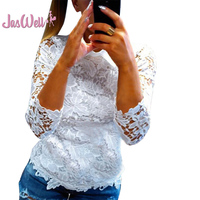 JasWell New Fashion Summer Female Ladies White Blusas Women S Long Sleeve Lace Crochet Tops Blouse