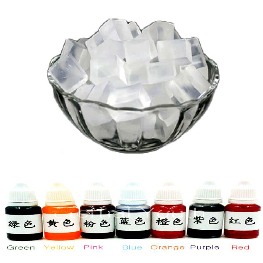 500g Transparent Glycerin Soap Base + 10mlX7 Colour Special Pigments for DIY Handmade Soap handmade dog printed soap stamp diy footprint natural soap resin stamp acrylic crystal transparent seal for soap z0116jy