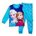 Algodón 2-7 T Niños Niñas Pijamas Ropa Snow Queen Elsa Enfant Fille Princesa Pijama de Dibujos Animados Pijamas Para Niñas ropa de dormir