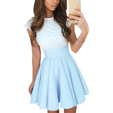 Lace Kawaii Dress Beach Summer Women Cute 2017 Flare Dresses Mini A Line Party Dress Vestidos Mujer Robe Femme Plus Size GV651