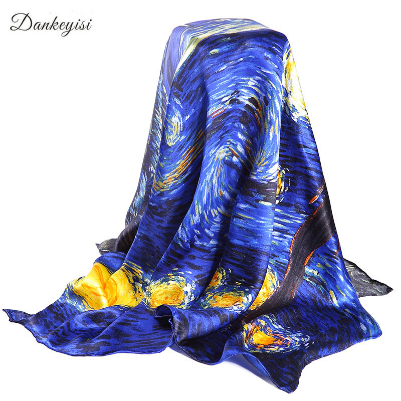 DANKEYISI Van Gogh Oil Painting Real Silk Scarf Square 90 * 90cm Big Fesyen Wanita Scarf Luxury Brand Designer Scarves Female Brap