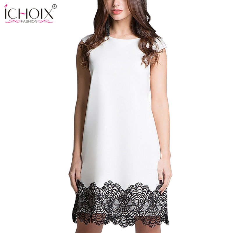 51c242844c500 US $17.13 |Casual 2019 Summer Lace Dresses Women Elegant Sexy Patchwork  Knee Length white Dress Loose Party Sleeveless robe femme Vestidos-in  Dresses ...