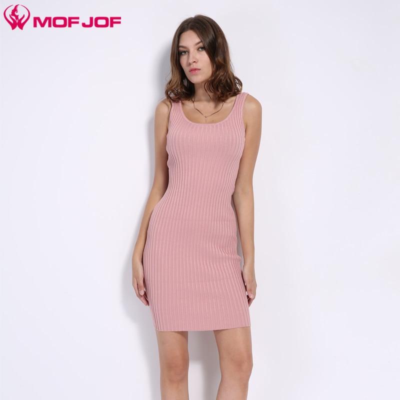 Womens Sexy Slim Bodycon Dress Vestidos Longitudinal strip Knitted Dresses U neck Sleeveless noodles tank dress MOFJOF 7 colors