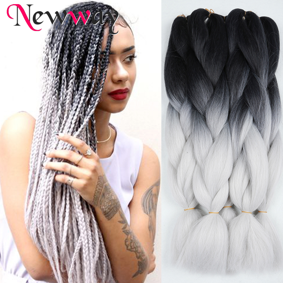 Aliexpress.com : Buy ombre kanekalon braiding hair two tone black grey braiding hair extension ...