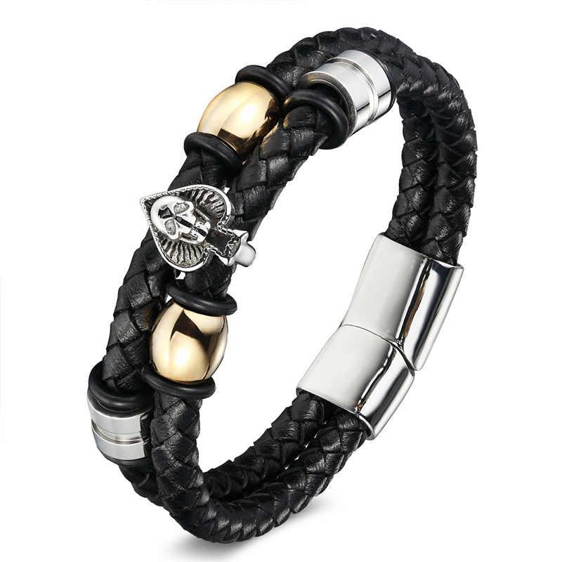 XiongHang Punk Bracelet Hand Weave Black Leather Rope Chain Stainless Steel Magnetic Buckle Bangles Men's Bracelets Friendship