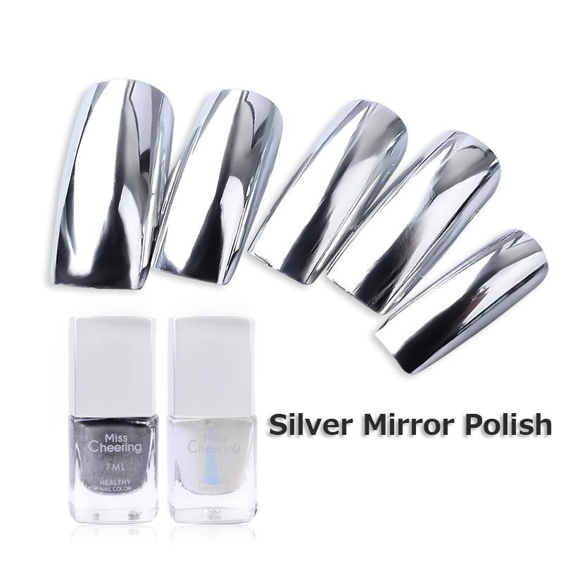 Metallic Nail Varnish Sets: 2pcs/set 7ml Silver Mirror Effect Metal Nail Polish + Base