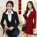 Juegos de falda de traje de falda de las mujeres señoras de la oficina conjunto de Alta calidad plus tamaño 2016 nueva venta caliente ol negocio ropa de trabajo elegante femenina