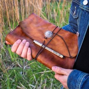 Image 1 - Junetree ของแท้หนัง Handmade A6 A5 B5 VINTAGE Retro Travel Journal สมุดบันทึก Notepad ของขวัญวันวาเลนไทน์