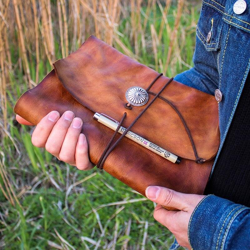 Junetree cuir véritable fait à la main A6 A5 B5 Vintage rétro Journal de voyage Journal portable bloc-notes anniversaire saint valentin cadeau
