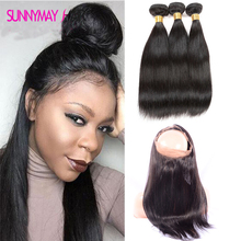 Top Brazilian Virgin Hair Pre Plucked Frontal 360 Lace Frontal With Bundles 3Pcs Lot Straight Human Hair Wefts Free Shipping
