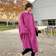Women Autumn Knitted Sweater Dress Long Loose Soild Thick Woolen Winter