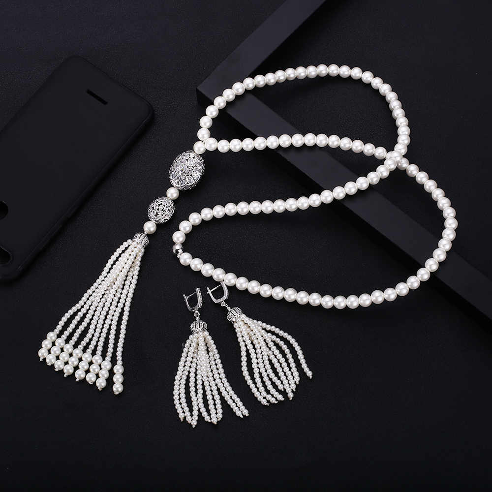 jankelly exquisite jewelry AAA cubic zircon simulated pearl pendant long sweater necklaces set african beads jewelry set