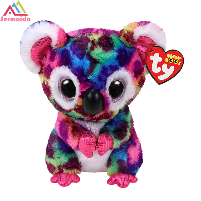 sermoido TY 6 Beanie Boos Slick Brown Fox Plush Beanie Baby Plush Stuffed Doll Toy Soft Toys Big Eyes Plush Toys DBP101