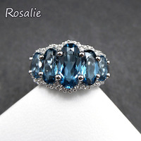Rosalie,Natural 5ct London Blue topaz gemstone ring solid 925 silver fine jewelry for woman anniversary brithday nice gift