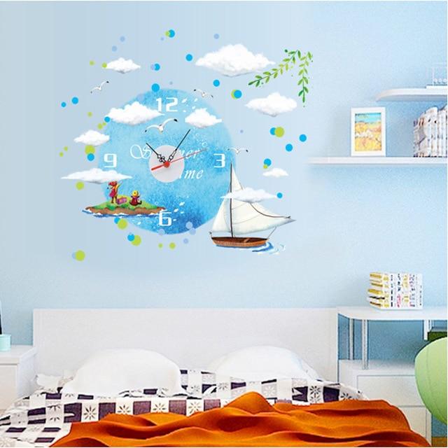 DIY Creative Kids Room Wall Clock Ocean Sticker Wall Clock For Kids Room  Decoration Painting Wall Clocks Home Decor Horloge