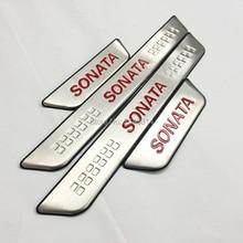 Для hyundai Sonata Нержавеющая Накладка на порог Защитная Накладка на педаль наклейка Аксессуары для стайлинга автомобилей