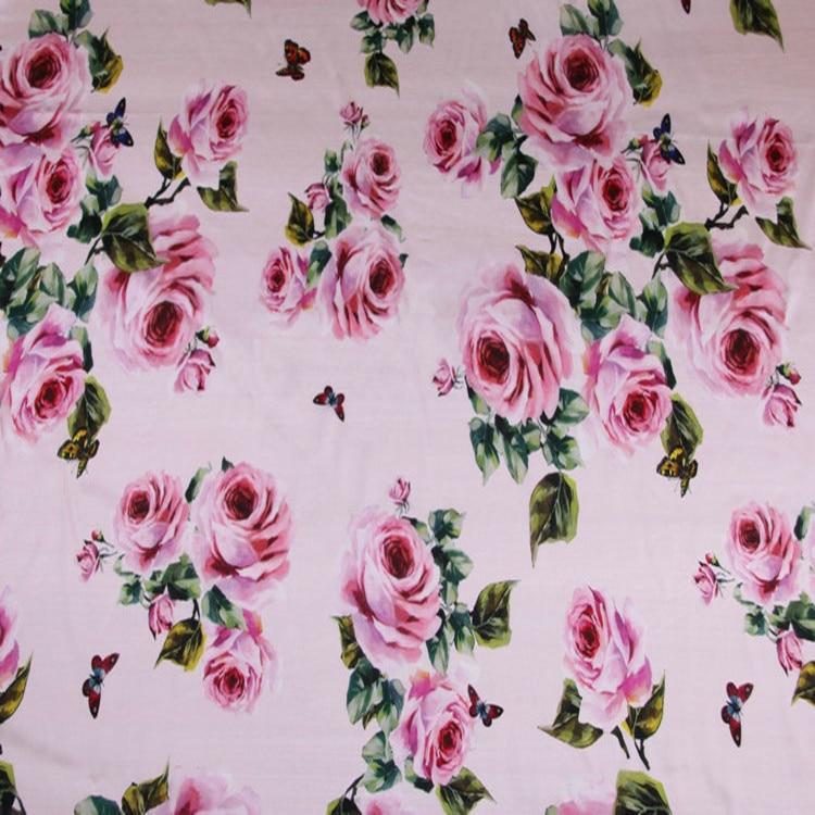 118 cm largeur 19mm sicilien Rose Rose fleurs mûrier soie Stretch Satin tissu pour femme robe d'été jupe Sewing-AF702