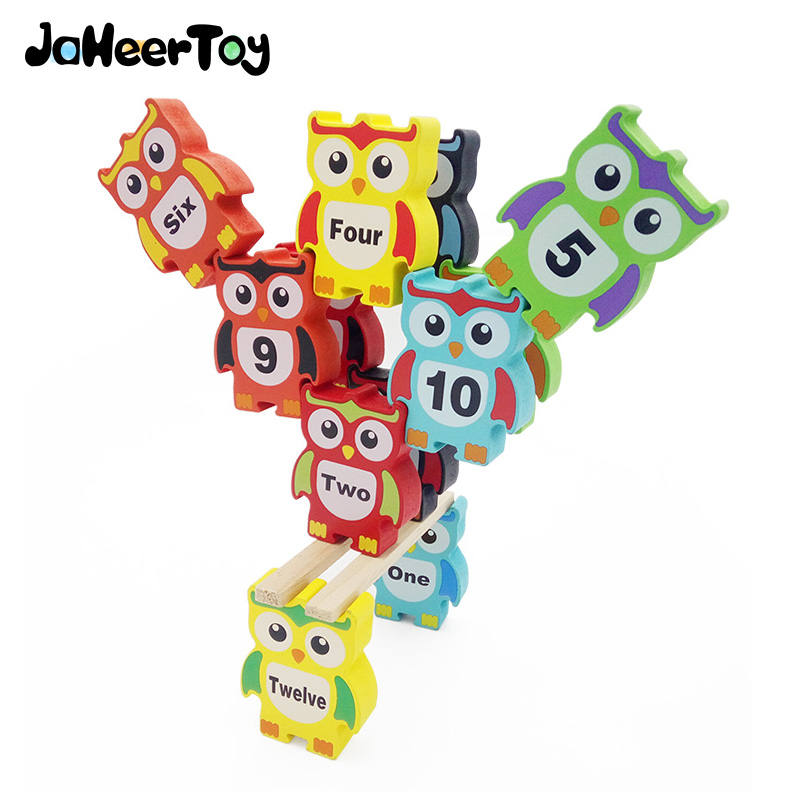JaheerToy Creature Blocks Baby Wooden Toys for Children Owl Balance Stack High Educational Toy 3-4-5-6 Years Wood Gifts forest animals 100pcs blocks girls 1 6 years educational baby toys environmental protection wooden children creature boy toy